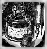 ink bottle and quill